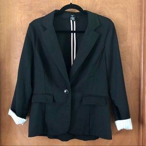 Stoosh Black Women's Blazer with Striped Sleeve